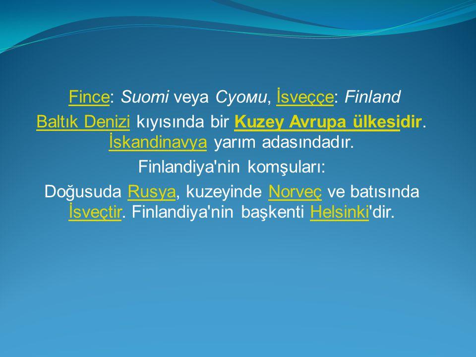 Fince: Suomi veya Суоми, İsveççe: Finland