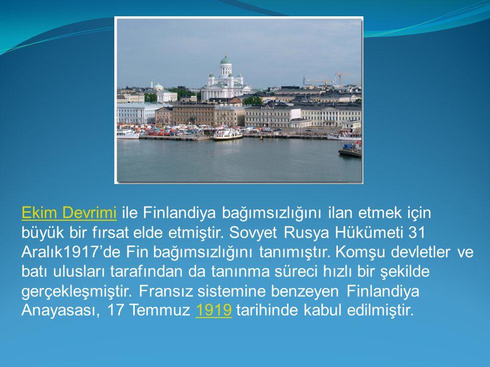 Ekim Devrimi ile Finlandiya bağımsızlığını ilan etmek için