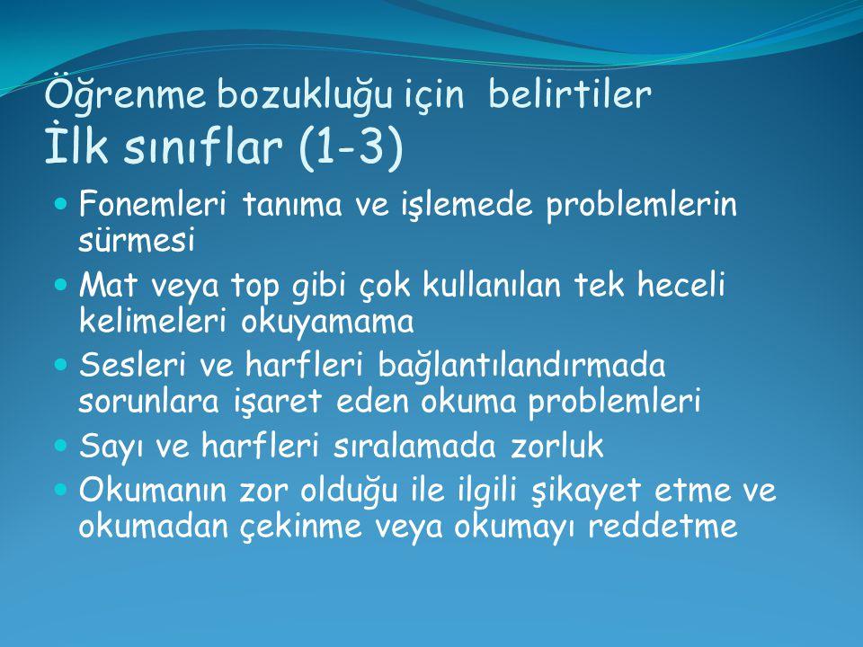 Öğrenme bozukluğu için belirtiler İlk sınıflar (1-3)