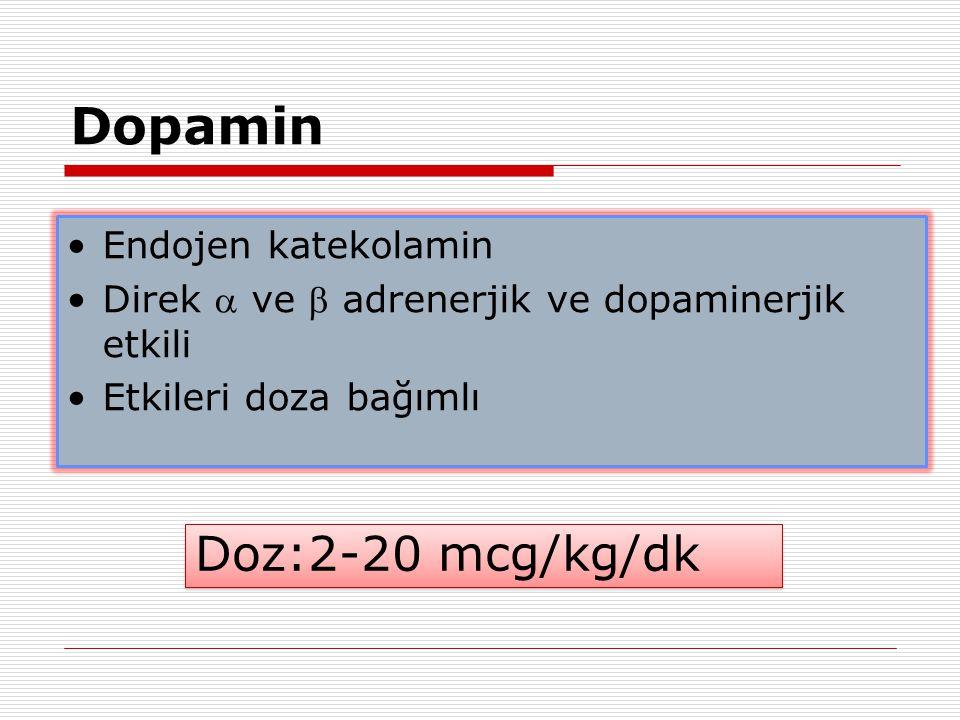 Dopamin Doz:2-20 mcg/kg/dk Endojen katekolamin