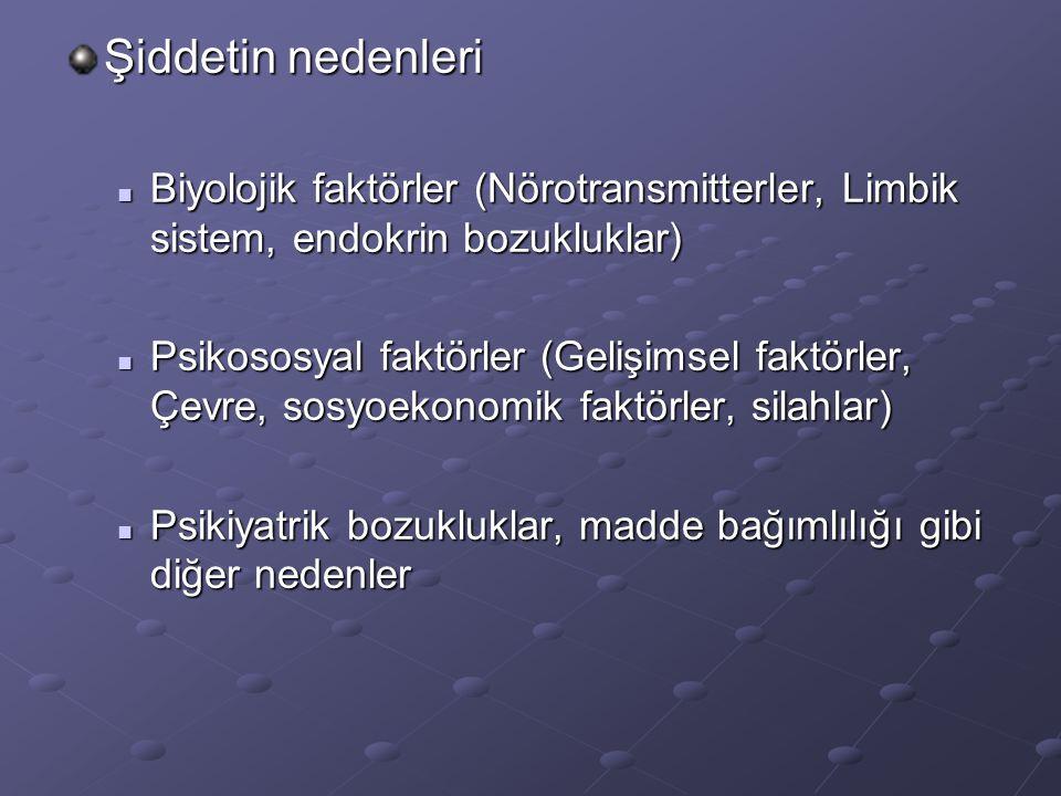Şiddetin nedenleri Biyolojik faktörler (Nörotransmitterler, Limbik sistem, endokrin bozukluklar)