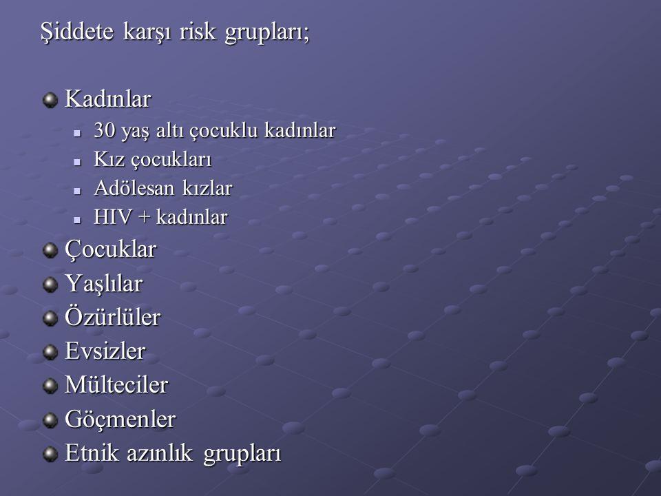 Şiddete karşı risk grupları; Kadınlar