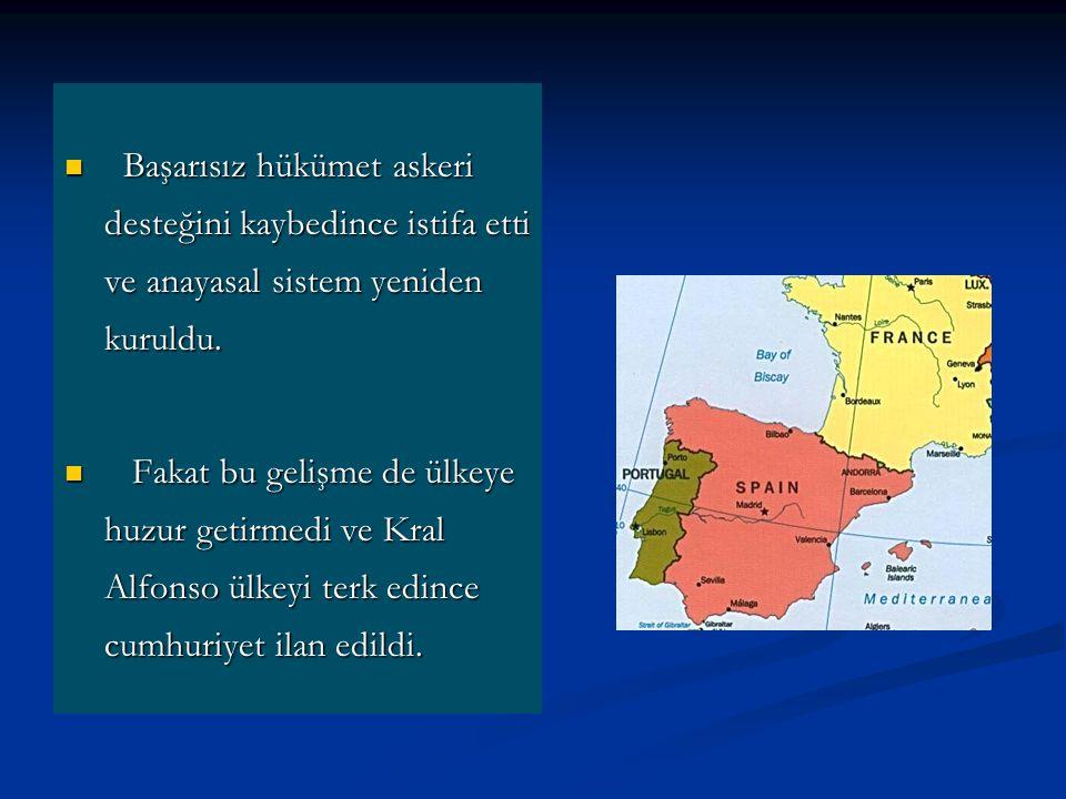 Başarısız hükümet askeri desteğini kaybedince istifa etti ve anayasal sistem yeniden kuruldu.