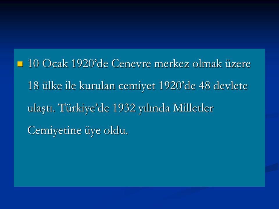 10 Ocak 1920'de Cenevre merkez olmak üzere 18 ülke ile kurulan cemiyet 1920'de 48 devlete ulaştı.
