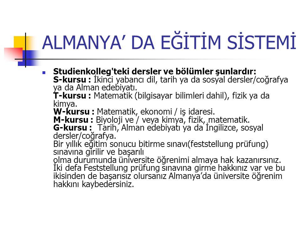 ALMANYA' DA EĞİTİM SİSTEMİ