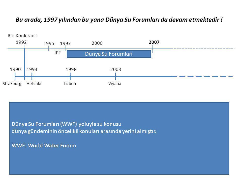 Bu arada, 1997 yılından bu yana Dünya Su Forumları da devam etmektedir !