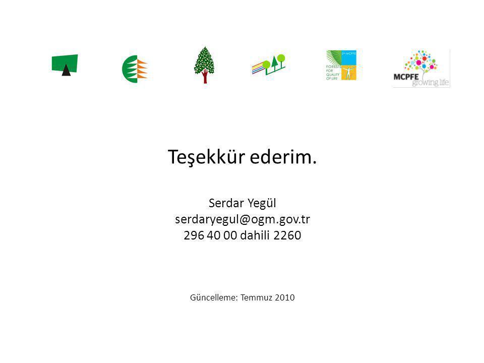 Teşekkür ederim. Serdar Yegül serdaryegul@ogm.gov.tr