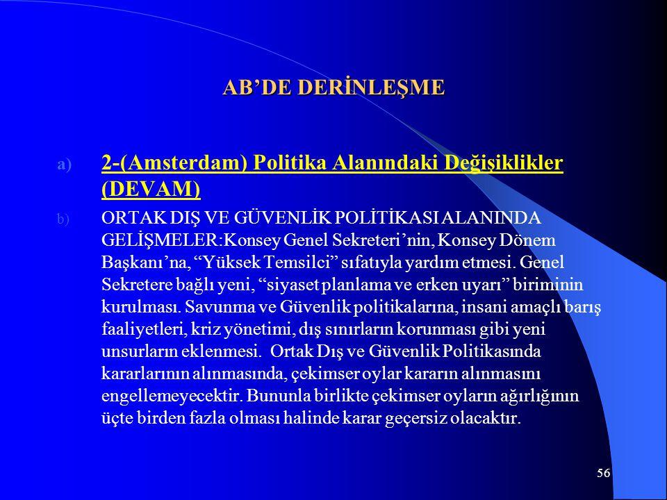 2-(Amsterdam) Politika Alanındaki Değişiklikler (DEVAM)