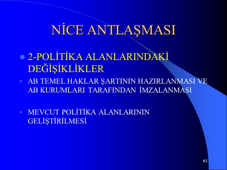 NİCE ANTLAŞMASI 2-POLİTİKA ALANLARINDAKİ DEĞİŞİKLİKLER
