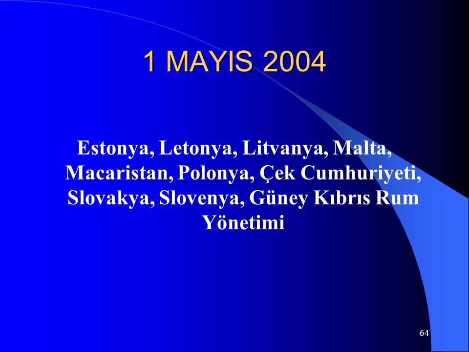 1 MAYIS 2004 Estonya, Letonya, Litvanya, Malta, Macaristan, Polonya, Çek Cumhuriyeti, Slovakya, Slovenya, Güney Kıbrıs Rum Yönetimi.