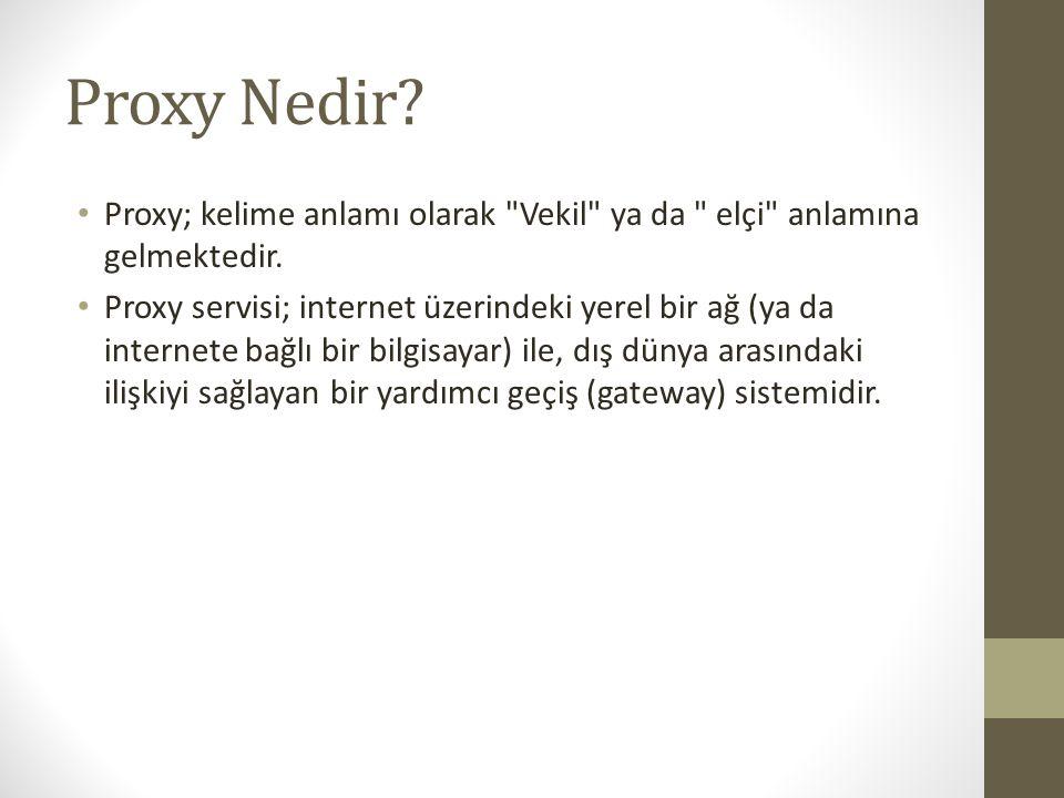 Proxy Nedir Proxy; kelime anlamı olarak Vekil ya da elçi anlamına gelmektedir.