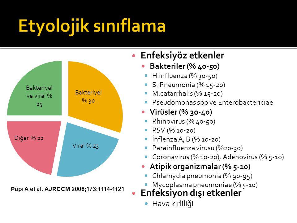 Etyolojik sınıflama Enfeksiyöz etkenler Enfeksiyon dışı etkenler