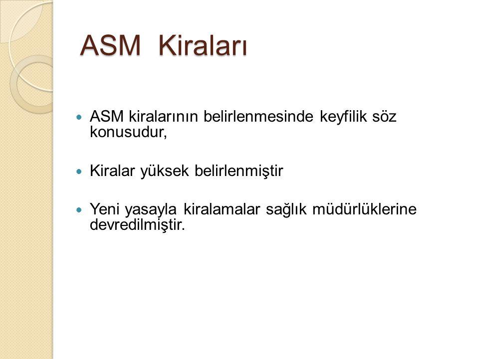 ASM Kiraları ASM kiralarının belirlenmesinde keyfilik söz konusudur,