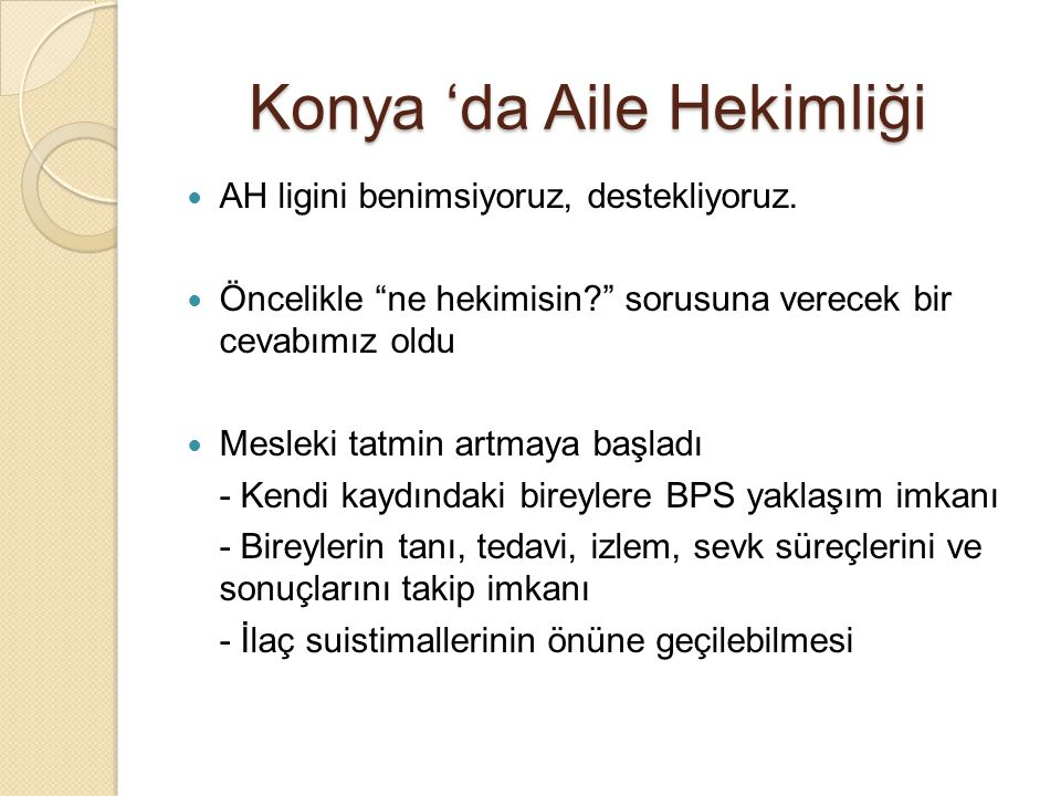 Konya 'da Aile Hekimliği