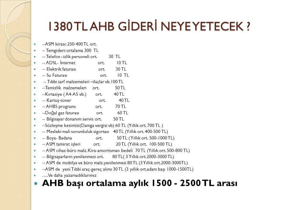 1380 TL AHB GİDERİ NEYE YETECEK