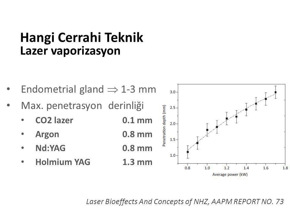 Hangi Cerrahi Teknik Lazer vaporizasyon Endometrial gland  1-3 mm