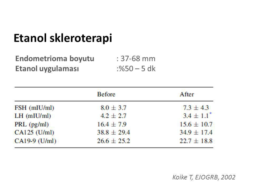 Etanol skleroterapi Endometrioma boyutu : 37-68 mm