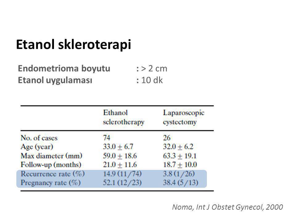 Etanol skleroterapi Endometrioma boyutu : > 2 cm