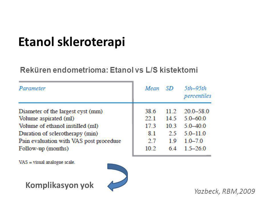 Etanol skleroterapi Komplikasyon yok