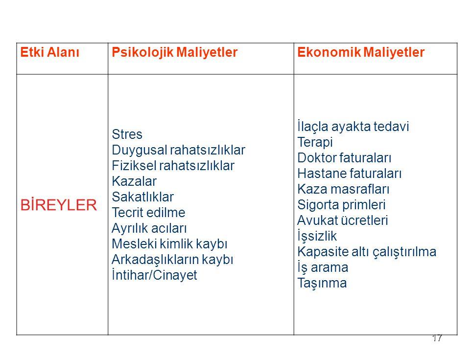 BİREYLER Etki Alanı Psikolojik Maliyetler Ekonomik Maliyetler Stres