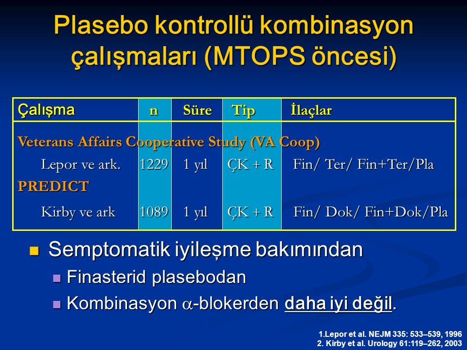Plasebo kontrollü kombinasyon çalışmaları (MTOPS öncesi)