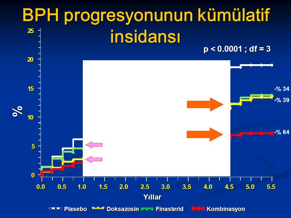 BPH progresyonunun kümülatif insidansı