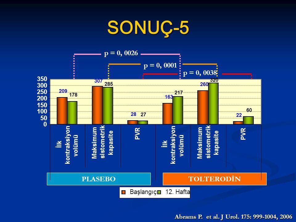 SONUÇ-5 p = 0, 0038 p = 0, 0001 p = 0, 0026 PLASEBO TOLTERODİN
