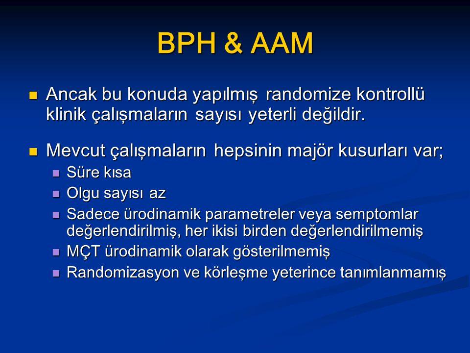 BPH & AAM Ancak bu konuda yapılmış randomize kontrollü klinik çalışmaların sayısı yeterli değildir.