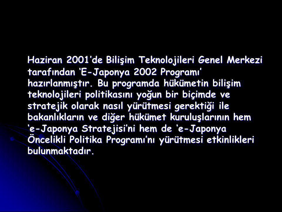 Haziran 2001'de Bilişim Teknolojileri Genel Merkezi tarafından 'E-Japonya 2002 Programı' hazırlanmıştır.