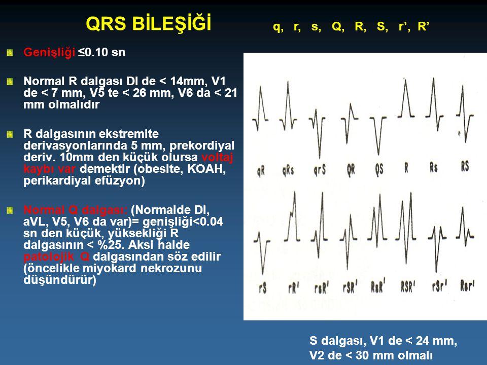 QRS BİLEŞİĞİ q, r, s, Q, R, S, r', R' Genişliği ≤0.10 sn