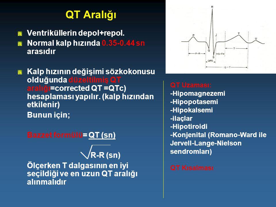 QT Aralığı Ventriküllerin depol+repol.