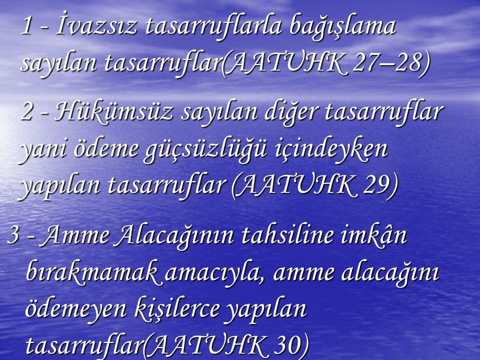 1 - İvazsız tasarruflarla bağışlama sayılan tasarruflar(AATUHK 27–28)