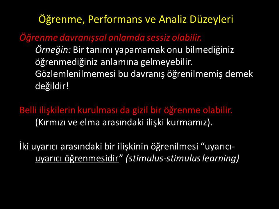 Öğrenme, Performans ve Analiz Düzeyleri