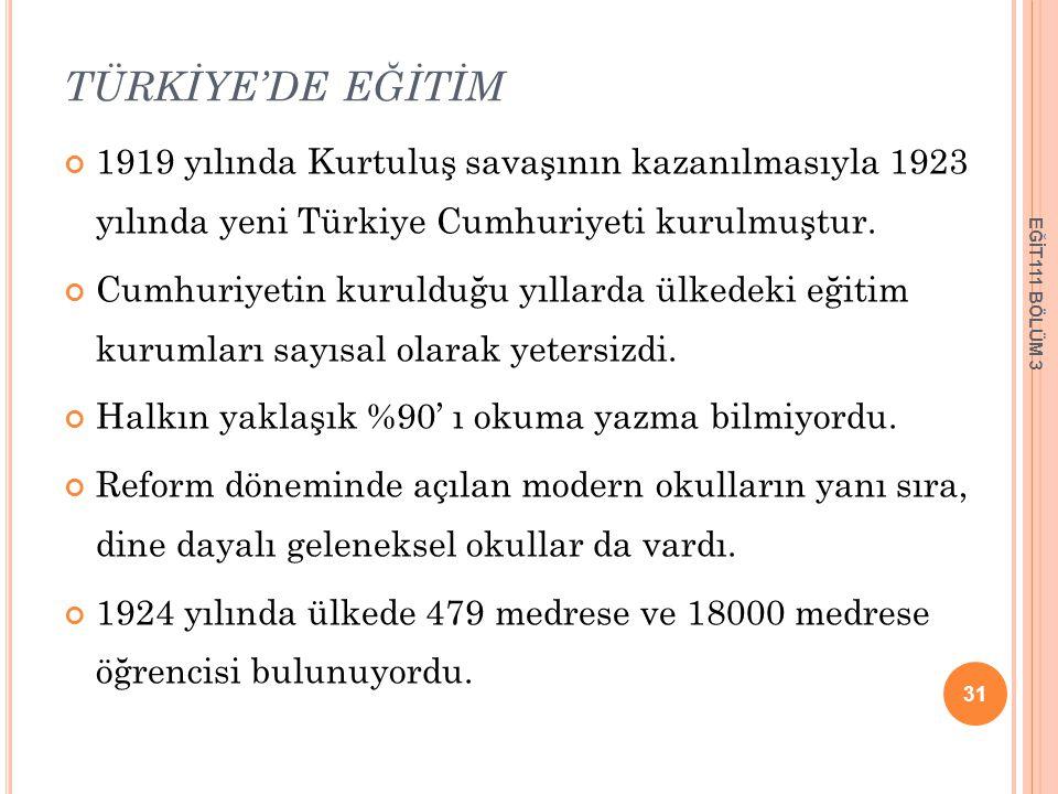 TÜRKİYE'DE EĞİTİM 1919 yılında Kurtuluş savaşının kazanılmasıyla 1923 yılında yeni Türkiye Cumhuriyeti kurulmuştur.