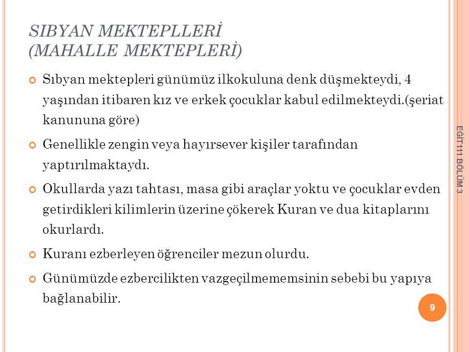 SIBYAN MEKTEPLLERİ (MAHALLE MEKTEPLERİ)