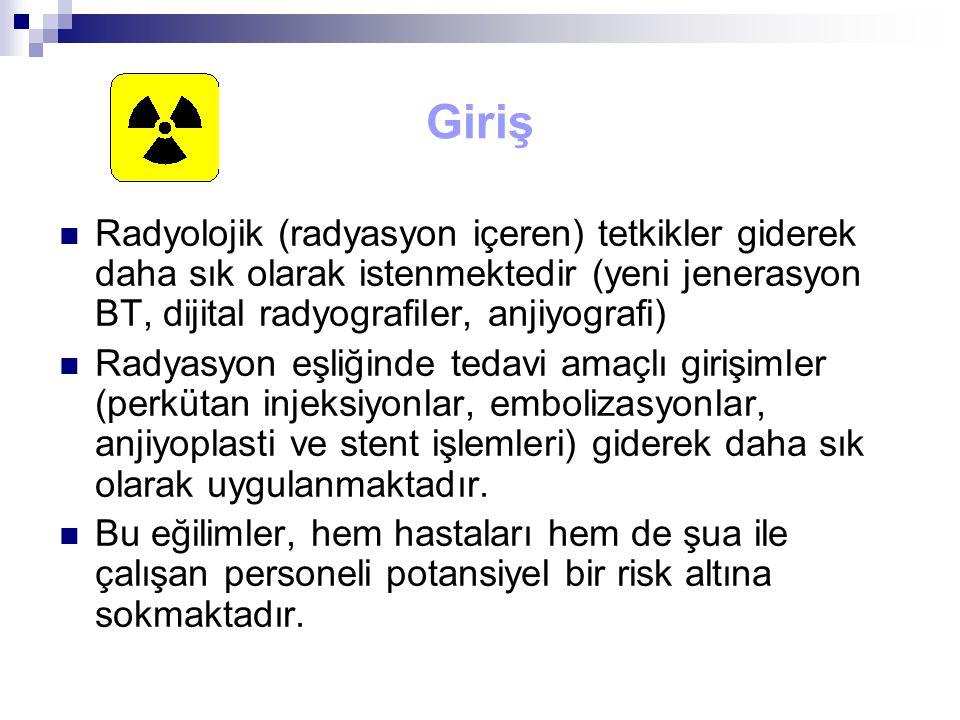 Giriş Radyolojik (radyasyon içeren) tetkikler giderek daha sık olarak istenmektedir (yeni jenerasyon BT, dijital radyografiler, anjiyografi)