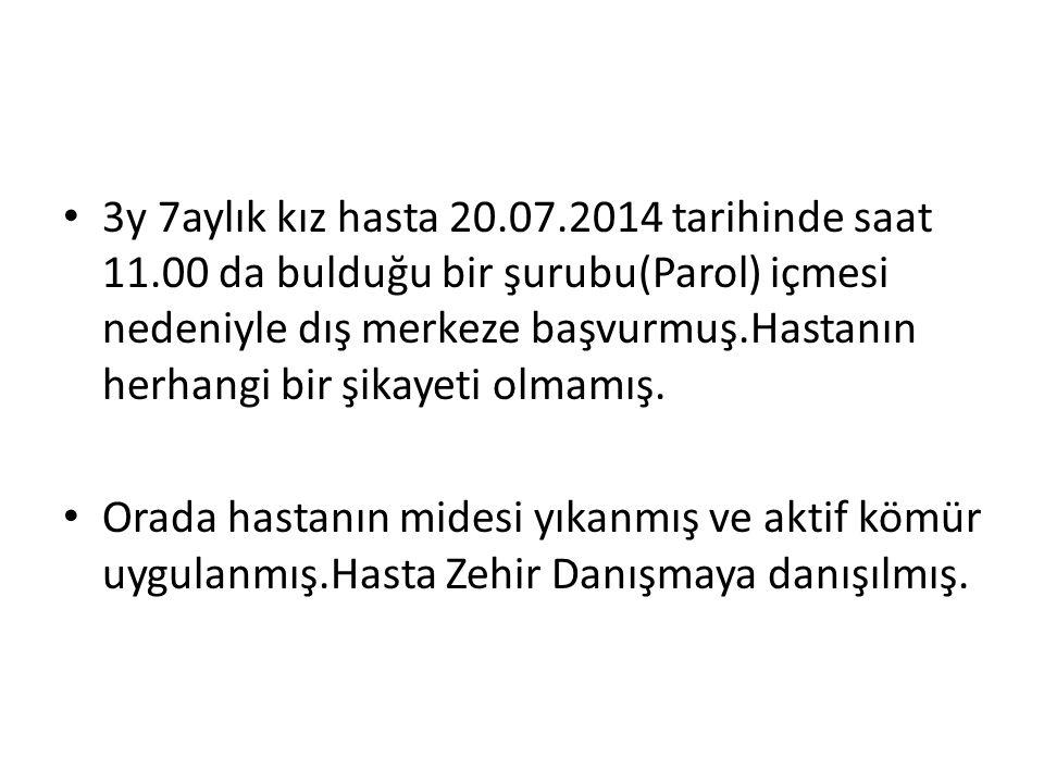 3y 7aylık kız hasta 20. 07. 2014 tarihinde saat 11