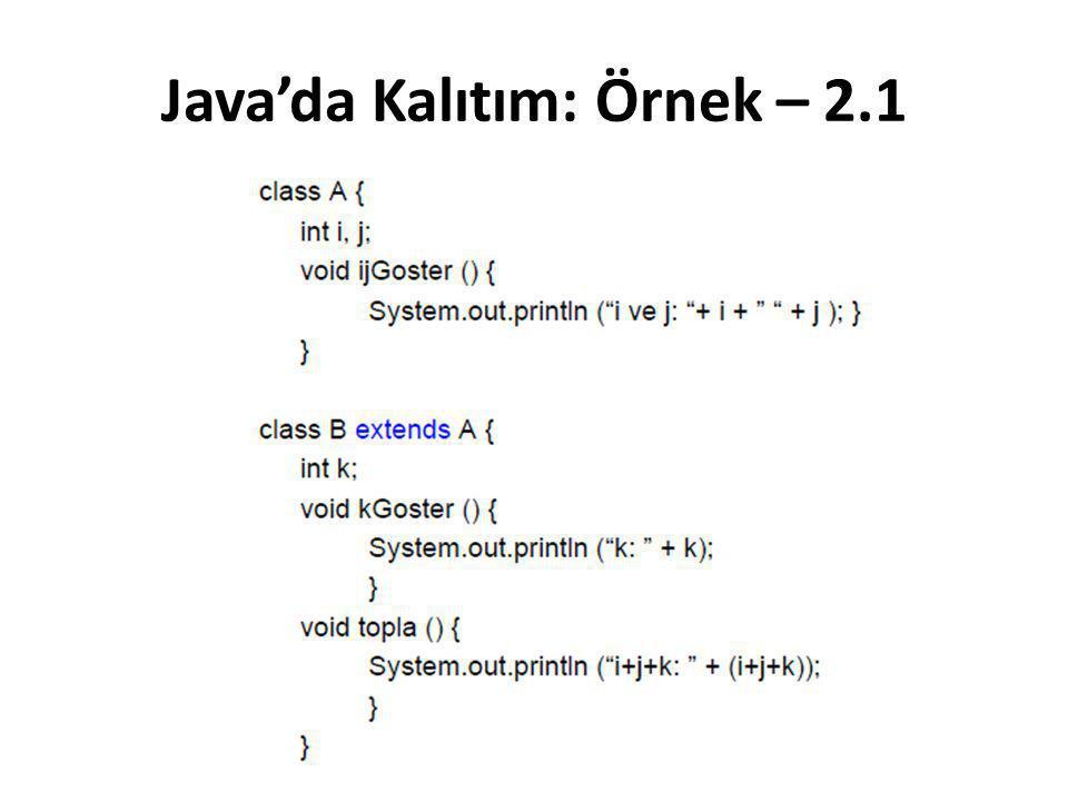 Java'da Kalıtım: Örnek – 2.1