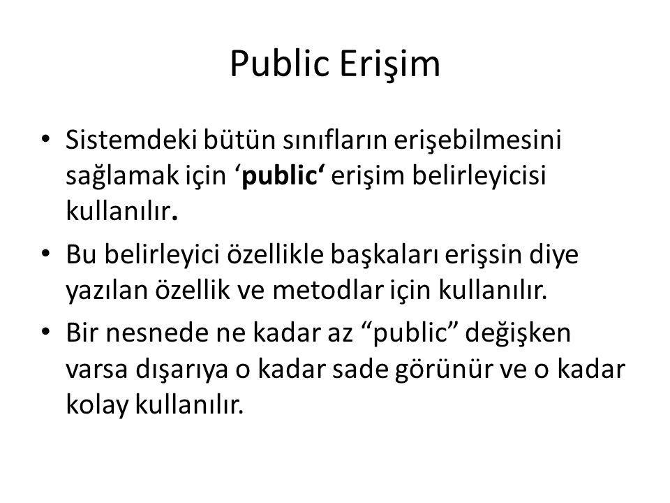 Public Erişim Sistemdeki bütün sınıfların erişebilmesini sağlamak için 'public' erişim belirleyicisi kullanılır.