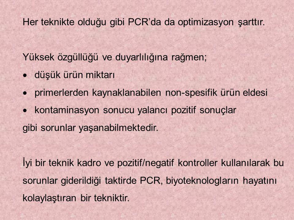 Her teknikte olduğu gibi PCR'da da optimizasyon şarttır.