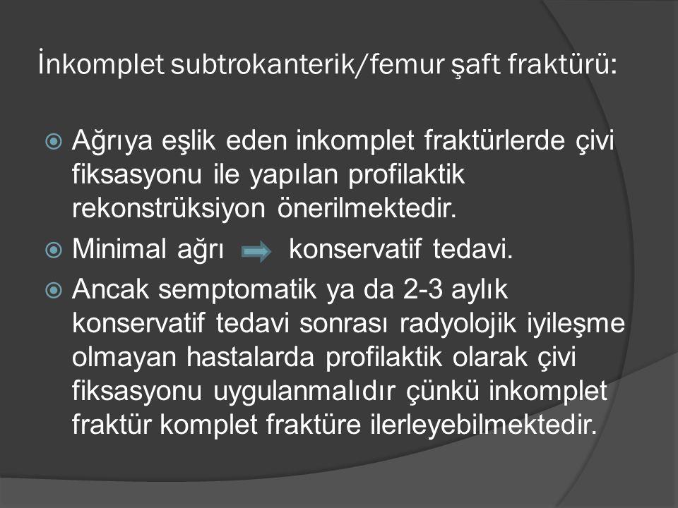 İnkomplet subtrokanterik/femur şaft fraktürü: