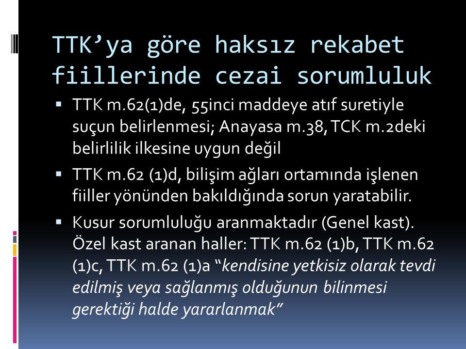 TTK'ya göre haksız rekabet fiillerinde cezai sorumluluk