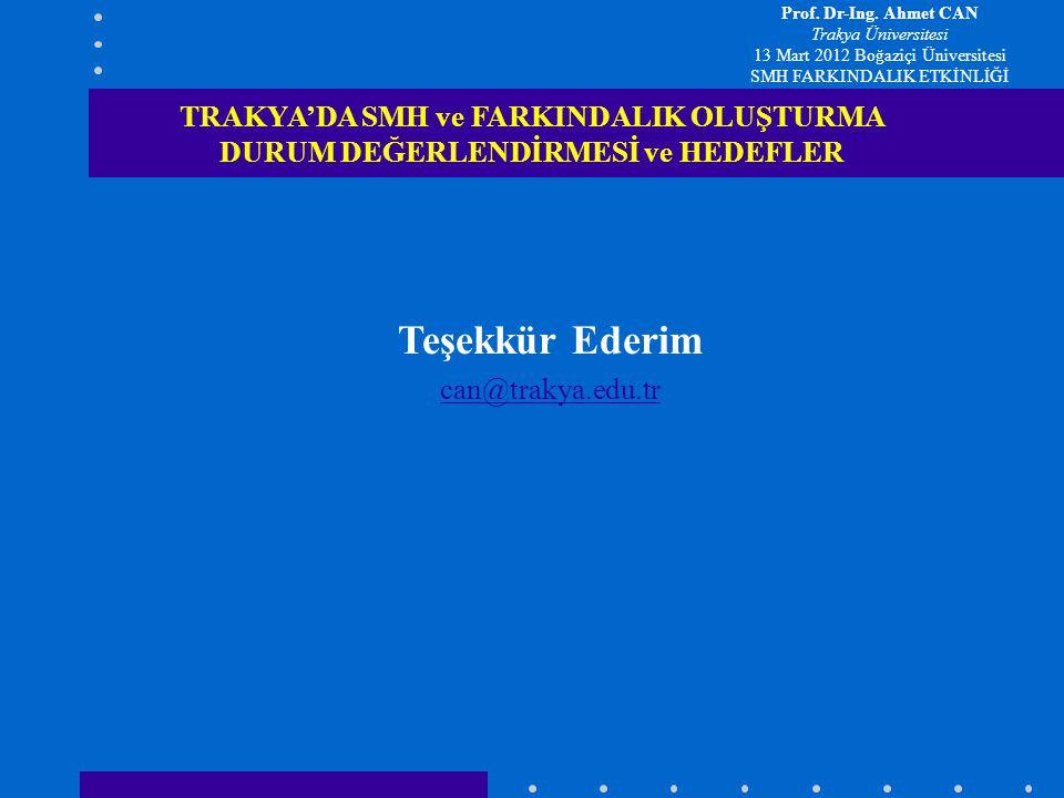 Prof. Dr-Ing. Ahmet CAN Trakya Üniversitesi. 13 Mart 2012 Boğaziçi Üniversitesi. SMH FARKINDALIK ETKİNLİĞİ.