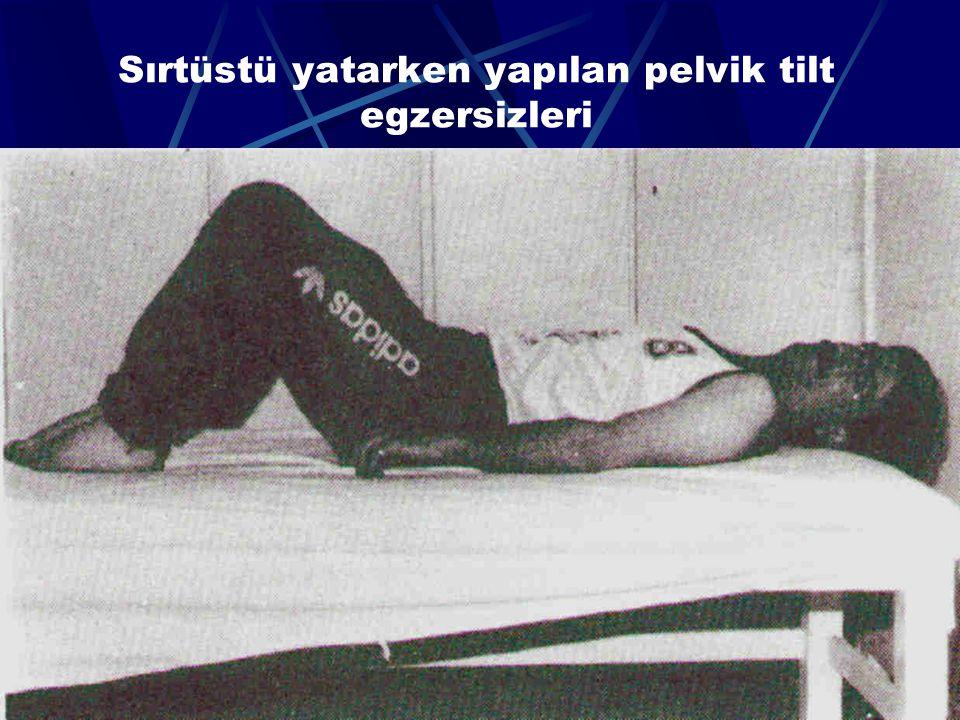 Sırtüstü yatarken yapılan pelvik tilt egzersizleri