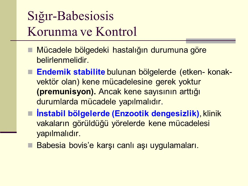 Sığır-Babesiosis Korunma ve Kontrol