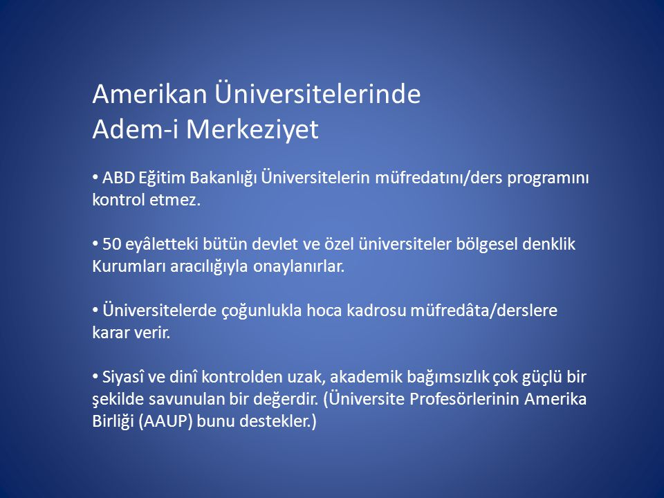 Amerikan Üniversitelerinde Adem-i Merkeziyet