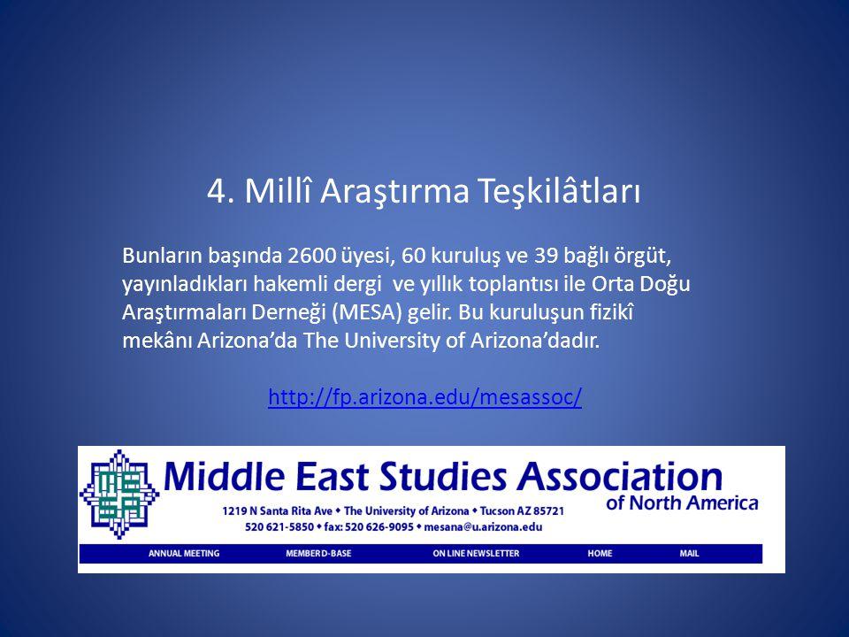 4. Millî Araştırma Teşkilâtları