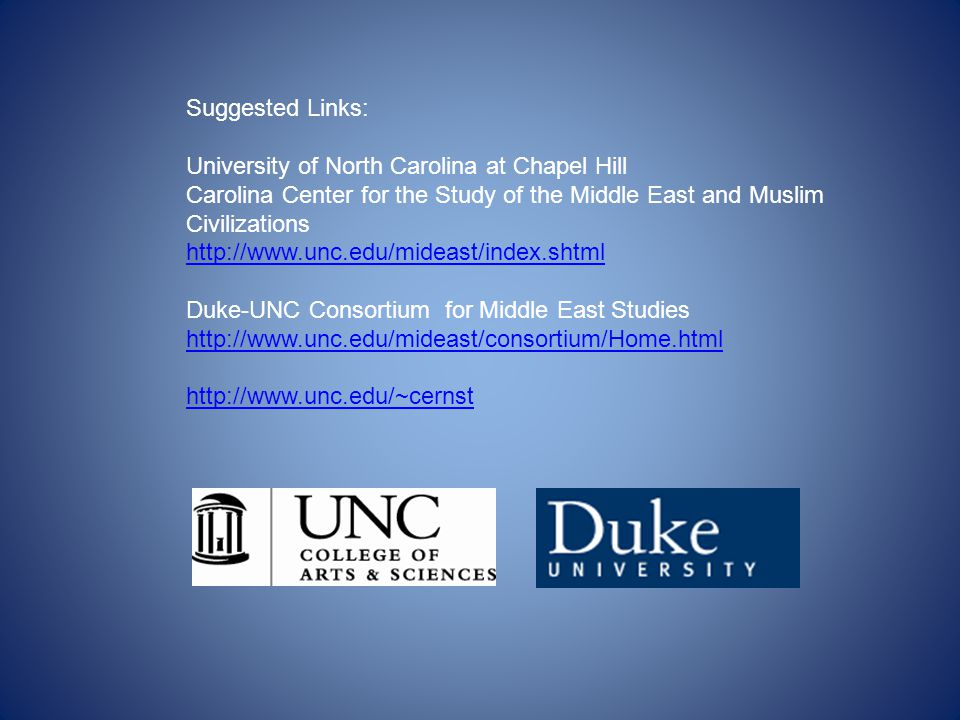 Suggested Links: University of North Carolina at Chapel Hill.
