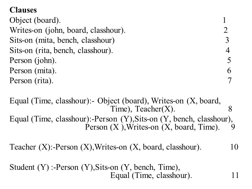 Clauses Object (board). 1.