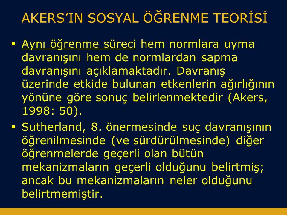 AKERS'IN SOSYAL ÖĞRENME TEORİSİ